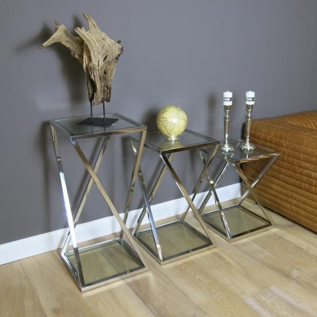 48er Set Lampentisch Beistelltisch Metall Glasplatte Glastisch Home Impressive Design Home Interiors Set