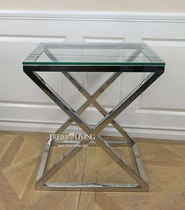 Beistelltisch chrom glas icnib for Beistelltisch design glas