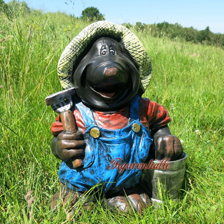 Maulwurf Gartenzwerg LKW Laster Gartenfigur Figur Garten Deko witzig süss Statue