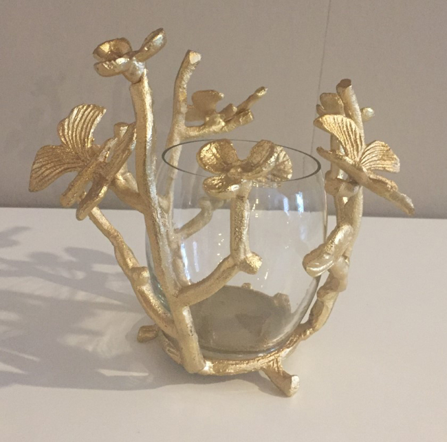 Deko In Gold.Windlicht Blumen Blumenranke Tisch Deko Gold Farbton Impressionen Shabby Chic