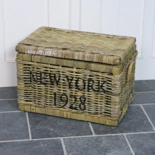 Eleganter Rattankorb Truhe NEW YORK 1928 Beach Korb Rattan Korb Deko Maritim Henkel Deckel