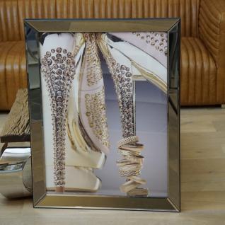 Wandbild Damenschuhe Strass Mode Ringe Spiegelrahmen Deko
