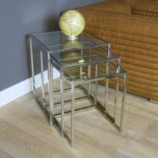3er Set Lampentisch Beistelltisch Metall Glasplatte Glastisch Home Interiors