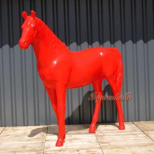 Pferd Figur rot glänzend lackiert Statue Kunstobjeckt Dekoration