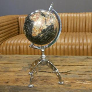 Globus schwarz Art Deco Nostalgie Chrom Deko - Vorschau 2