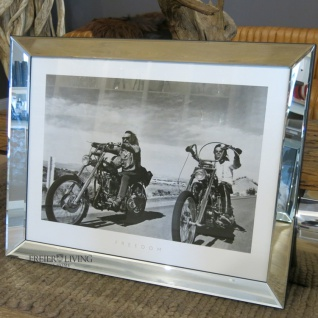 Biker Fan Artikel Spiegelrahmen Deko Motorrad Easy Rider 1969 Old Man Wandbild