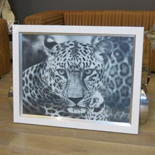 Wandbild Fotodruck Leopard Schwarz weiß Rahmen Holz mit Alu - Vorschau 1