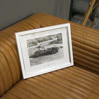 Weißer Rahmen Monaco Wandbild Fotodruck Mercedes Benz Schwarz weiß 1955 Oldtimer Racing - Vorschau 1