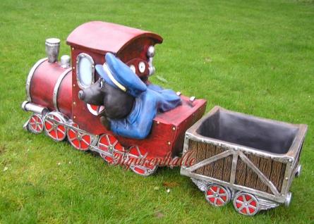 Maulwurf Lokomotive Deko Eisenbahn Gartenfigur - Vorschau 3