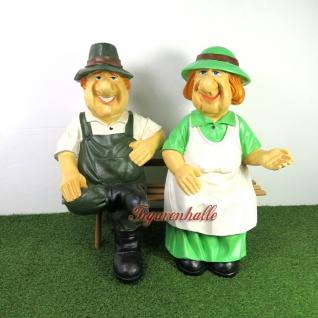 Marta & Willi Figuren Oma & Opa auf der Bank - Haus, Hof und Gartendeko