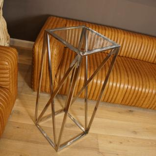 Beistelltisch Chrom glänzend Deko Säule Metall Tisch