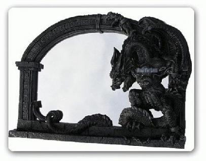 Drachen Spiegel im Gothic Style Figur Statue