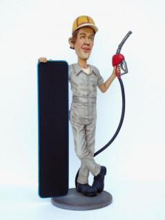Tankwart Werbefigur Figur Werbeaufsteller mit Tafel