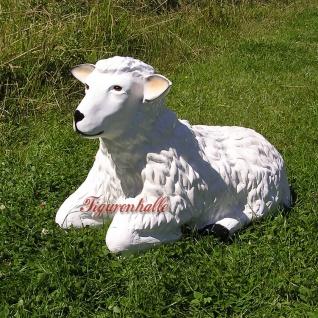 Schaf liegend Figur Gartenfigur Aufstellfigur Deko