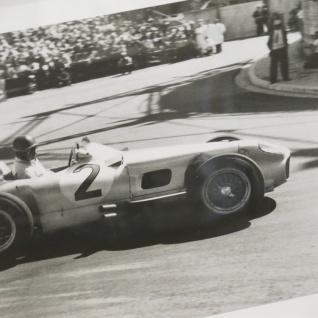 Weißer Rahmen Monaco Wandbild Fotodruck Mercedes Benz Schwarz weiß 1955 Oldtimer Racing - Vorschau 3