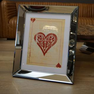 Wandbild Spiegelrahmen Herz Kartenspiel Spielkarte Poker Fan Artikel