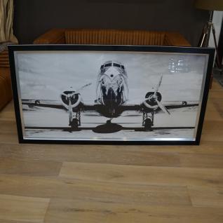 Wandbild Flugzeug Douglsa 100cm DC-3 schwarzer Rahmen