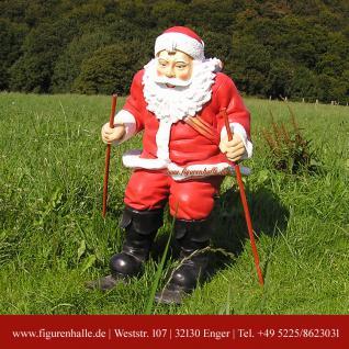 Weihnachtsmann Santa Claus Figur Skiern Winter Statue Deko
