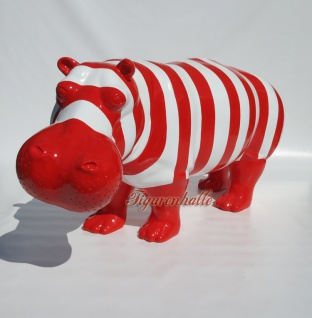 Nilpferd Flusspferd Figur Pop Art top blau gekringeld Design Bunt Tier animal Deko