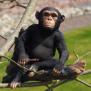 Affe Schimpanse auf Ast Figur Aufstellfigur Dekoration Deko Skulptur