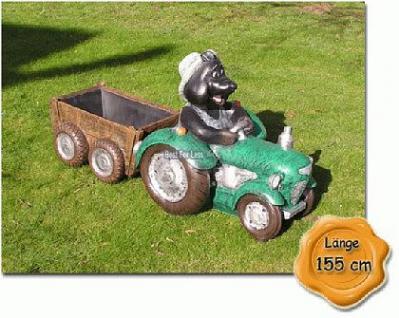 Maulwurf auf Trecker Traktor Gartenfigur Figur - Vorschau 1