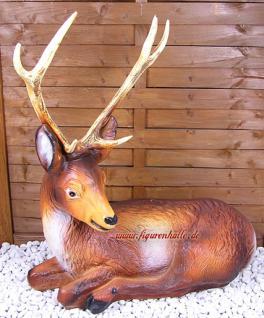 Hirsch Dekofigur Figur Wald Statue Skulptur Fan - Vorschau 1