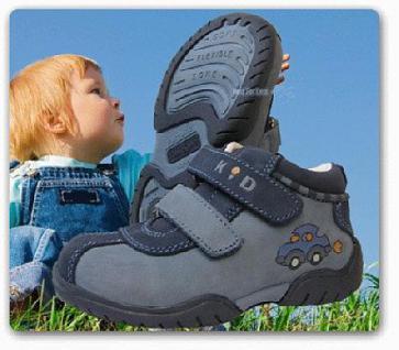Kinder Halbschuhe aus echt Leder Klettverschluss - Vorschau 1