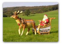 Weihnachtsmann Figur mit Schlitten Gespann Deko
