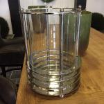 Laterne Windlicht Chrom Metall Bauhaus Art Deco Maritim rund glas