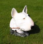 Pitbull Tierfigur Hundefigur Figur Kopf Weiß