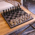Aluminium Schachspiel großes Deko Chrom Büro Antik