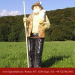 Lebensgroße Schäfer mit Scharf auf Arm Figur Garten Deko Statue Skulptur
