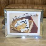Wandbild Spiegelrahmen Royal Flush Spielkarten Revolver Pistole Poker