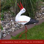 Storch Klappastorch Garten Dekofigur Figur Gartenteich
