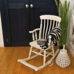 Schaukelstuhl weiß Antik Veranda Holz gemüdlich Stuhl