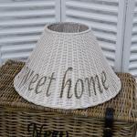 Rattan Lampenschirm rund Stehleuchte Sweet Home Shabby Chic Maison Style weiß