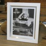 Wandbild Fotodruck Marilyn Monroe Schwarz weiß Rahmen Holz mit Alu