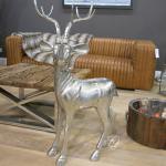 Aluminium Hirsch Rentier Reh Wild Deko Figur groß