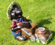 Maulwurf mit Rasenmäher Gartenfigur Dekofigur