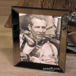 Wandbild Paul Newman Autorennen schwarz weiß mit Spiegelrahmen