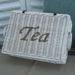 Rattan Teekorb Teefach Teedose Teekasten Tee Korb weiß Rattan