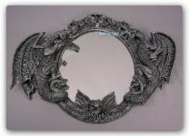 Drachen Spiegel im Gothic Style Figur Statue Deko
