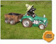 Maulwurf Traktor Trecker Figur Anhänger Garten