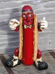Hot Dog Antik Werbefigur beleuchtet Restaurant Imbiss Werbung