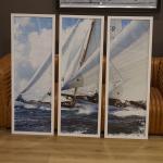 Wandbild 3er Set Maritim Segelyacht Segelschiff Nostalgie Antik Deko