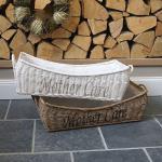 Rattan Korb weiß mit Textileinlage Babypflege und Schrift Natur Mission Style