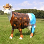 Cowboy Kuh Lebensgroß Dekofigur Werbefigur