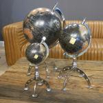 Globus schwarz Art Deco Nostalgie Chrom Deko