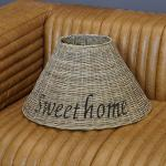 Rattan Lampenschirm rund Stehleuchte Sweet Home Shabby Chic Maison Style