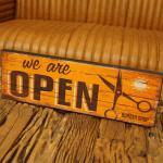 Nostalgie Schild Open Friseur Holz MDF Retro Oldschool Shabby Chic